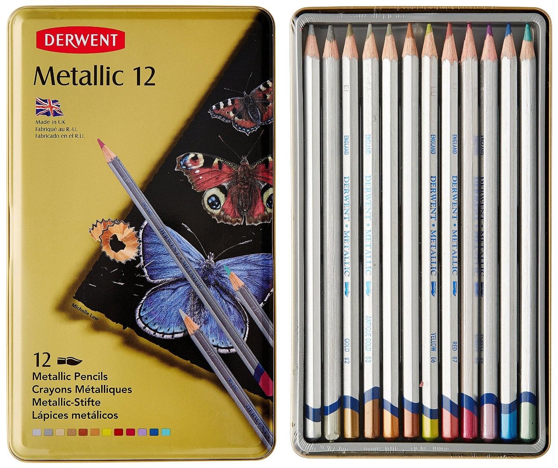 Metalické akvarelové pastelky Derwent 12 ks