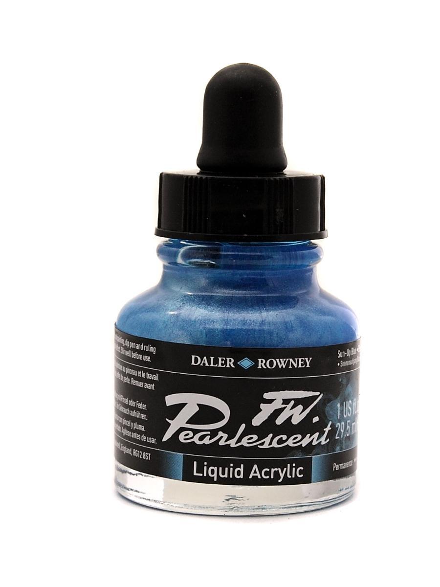 Umělecká tuš Perlescent na akrylové bázi 29,5 ml modrá: Pearlescent Sun-up Blue