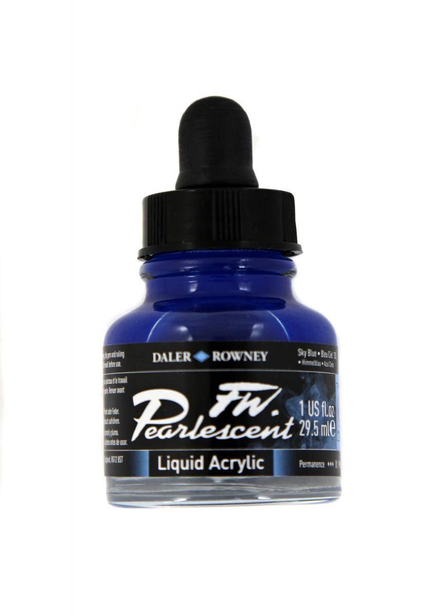 Umělecká tuš Perlescent na akrylové bázi 29,5 ml modrá: Pearlescent Sky Blue