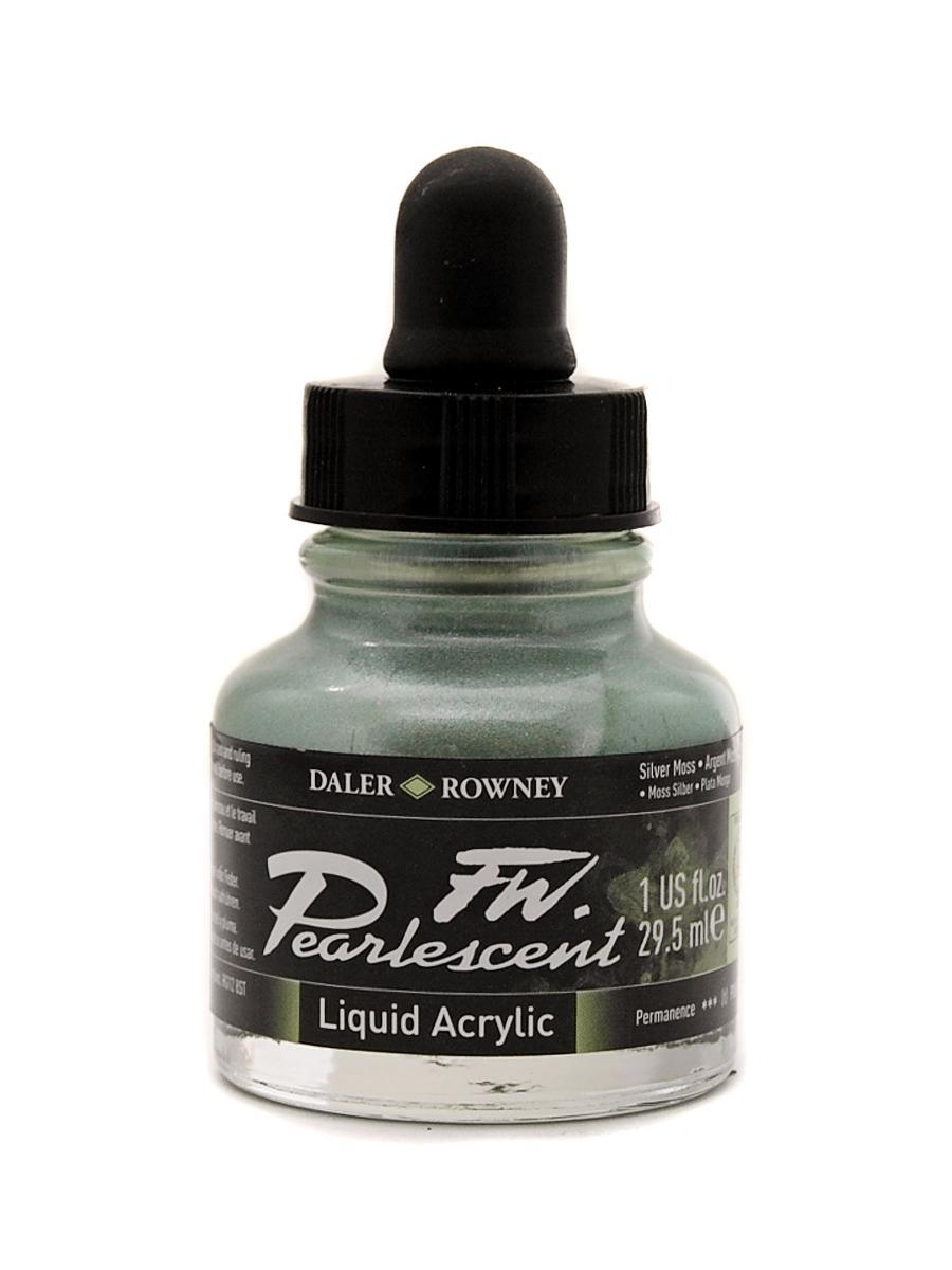 Umělecká tuš Perlescent na akrylové bázi 29,5 ml stříbrná: Pearlescent Silver Moss
