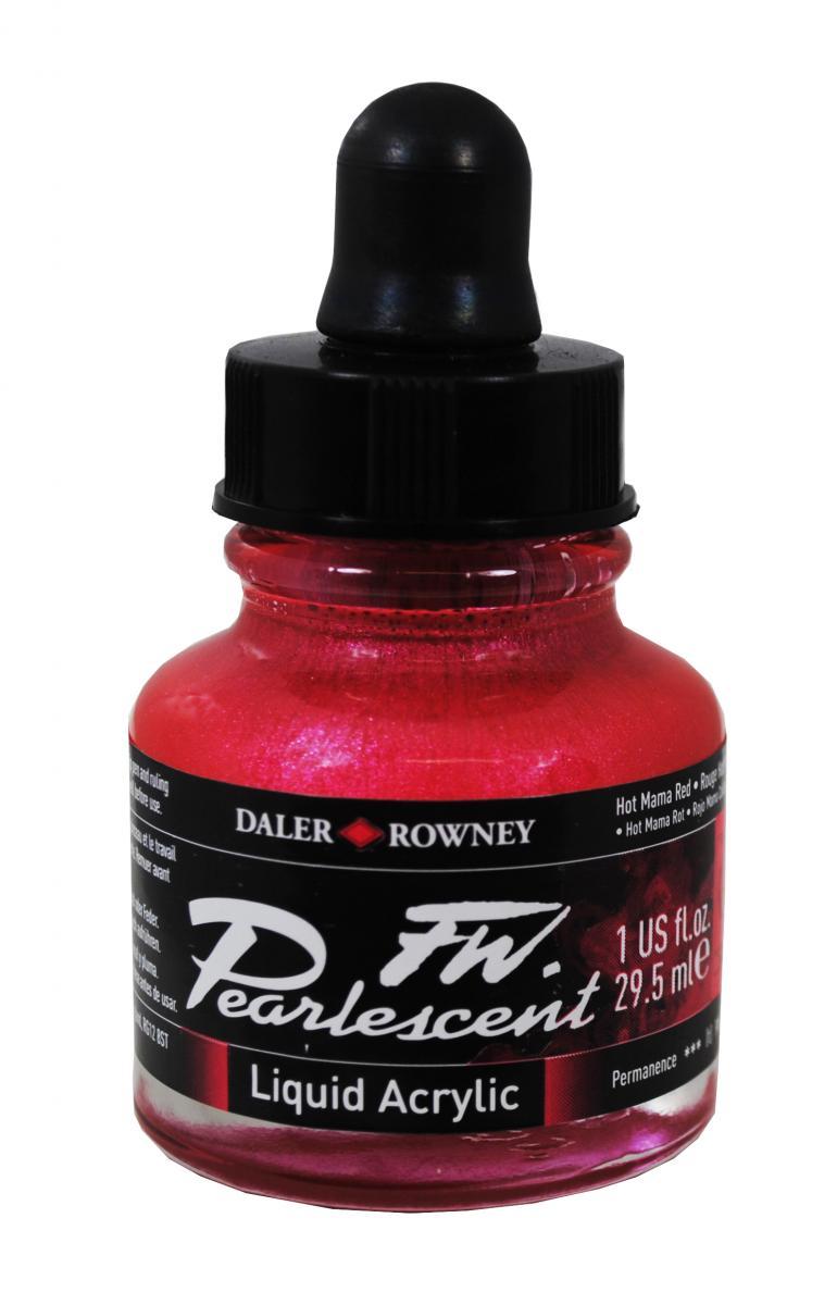 Umělecká tuš Perlescent na akrylové bázi 29,5 ml červená: Pearlescent Hot Mama Red