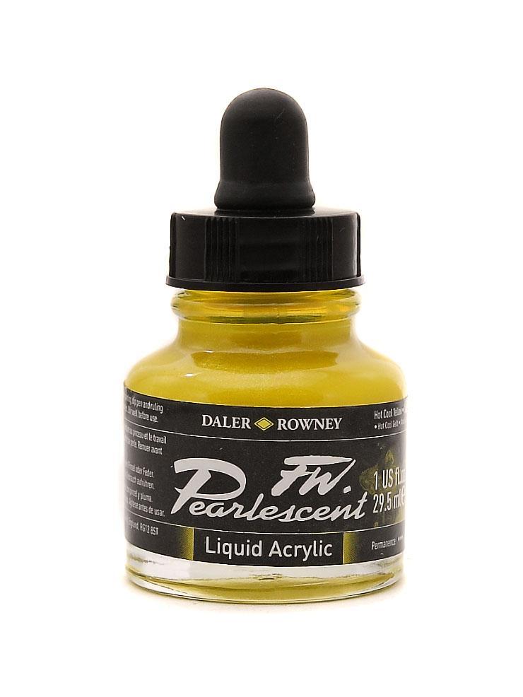 Umělecká tuš Perlescent na akrylové bázi 29,5 ml žlutá: Pearlescent Hot Cool Yellow