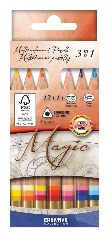 Pastelky Magic 12+1 + ořezávátko + guma