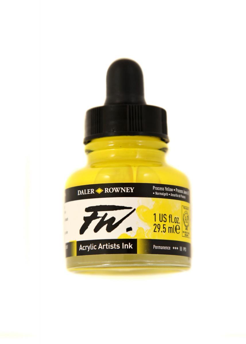 Umělecká tuš na akrylové bázi 29,5 ml žlutá: Process Yellow