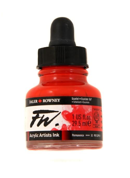 Umělecká tuš na akrylové bázi 29,5 ml červená světlá: scarlet