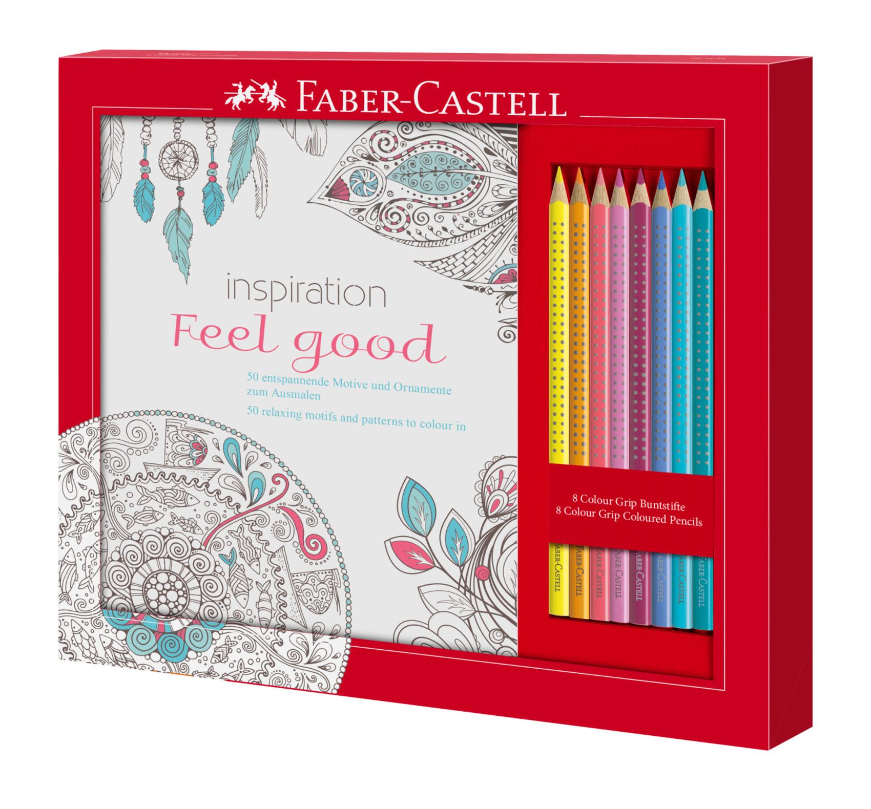 Set relaxační omalovánky+pastelky Faber-Castell FEEL GOOD: sada pastelových barev