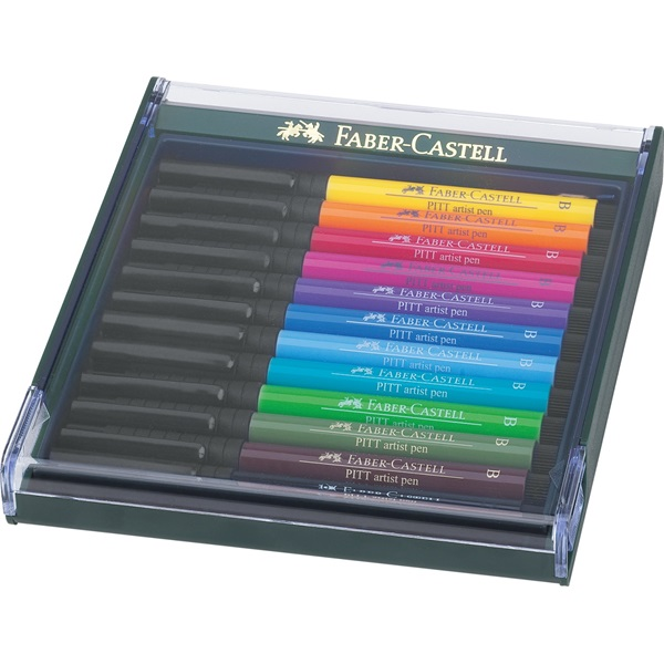 PITT umělecká pera -artist pen Brush - Set 12xB základní barvy: žlutá,oranžová,tm.červená,růžová,fialová,kobalt.modř,arktická…