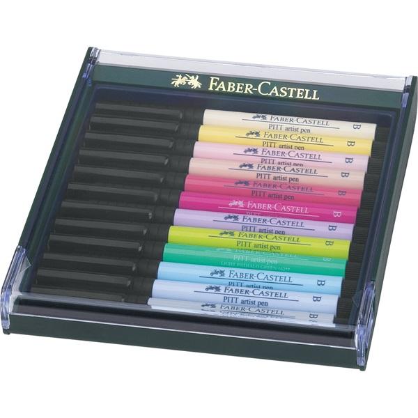 PITT umělecká pera -artist pen Brush - Set 12xB pastelové barvy: slonová kost,citronová,sv.tělová,stř.tělová,tělovárůžový…