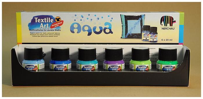 Barvy na textil Nerchau - různé sady 6 x 20 ml aqua barvy: světle modrá, tyrkys, světle zelená, modrá, fialová, zelená