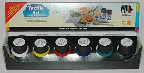 Barvy na textil Nerchau - různé sady 6 x 20 ml základní barvy: bílá, žlutá, červená, modrá, zelená, černá