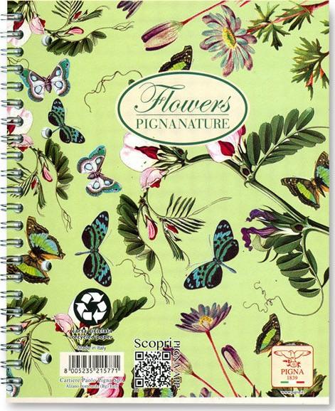 Spirálový blok linkovaný Pigna Nature Flowers A4 design: Motýlci