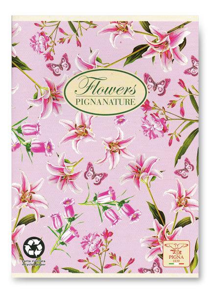 Spirálový blok linkovaný Pigna Nature Flowers A4 design: lilie
