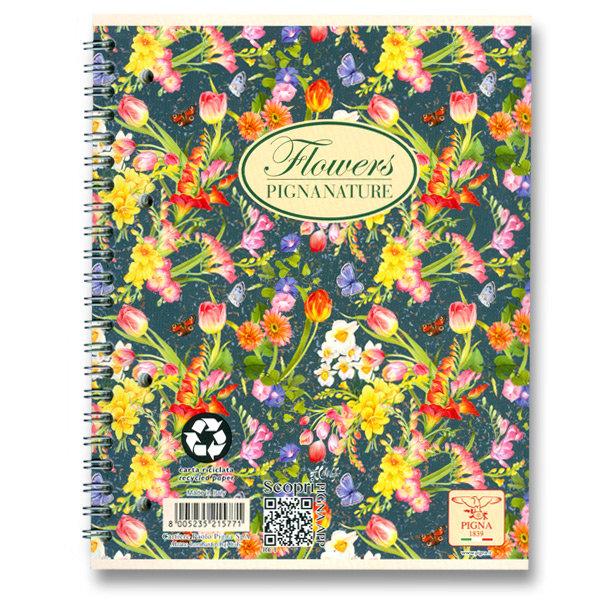 Spirálový blok linkovaný Pigna Nature Flowers A5 design: tulipány tmavé