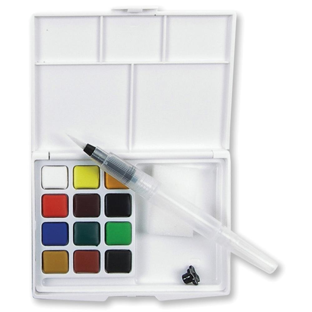 Akvarelové barvy KOI v plastovém pouzdře, sada 12 ks + plnicí štětec