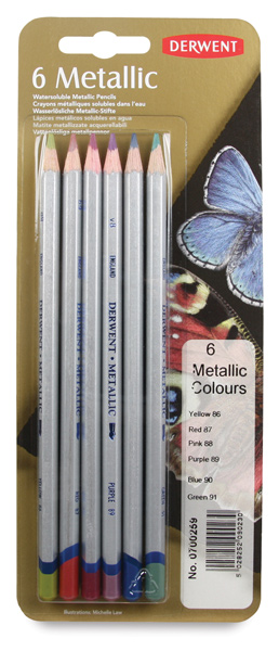 Metalické akvarelové pastelky Derwent 6 ks