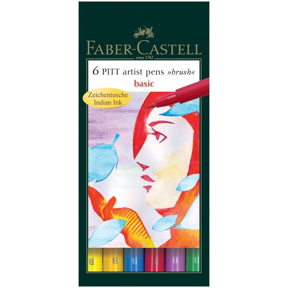 PITT umělecké štětce set 6 - Pen Brush - základní barvy