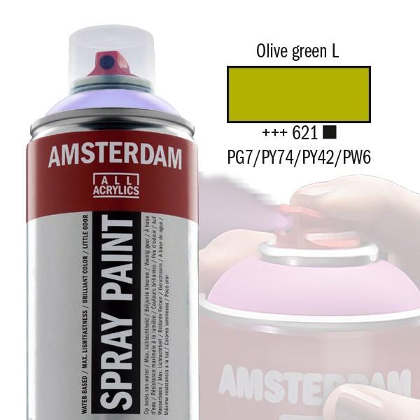 AMSTERDAM Spray Paint - Akrylová barva ve spreji 400 ml - Olive green light 621