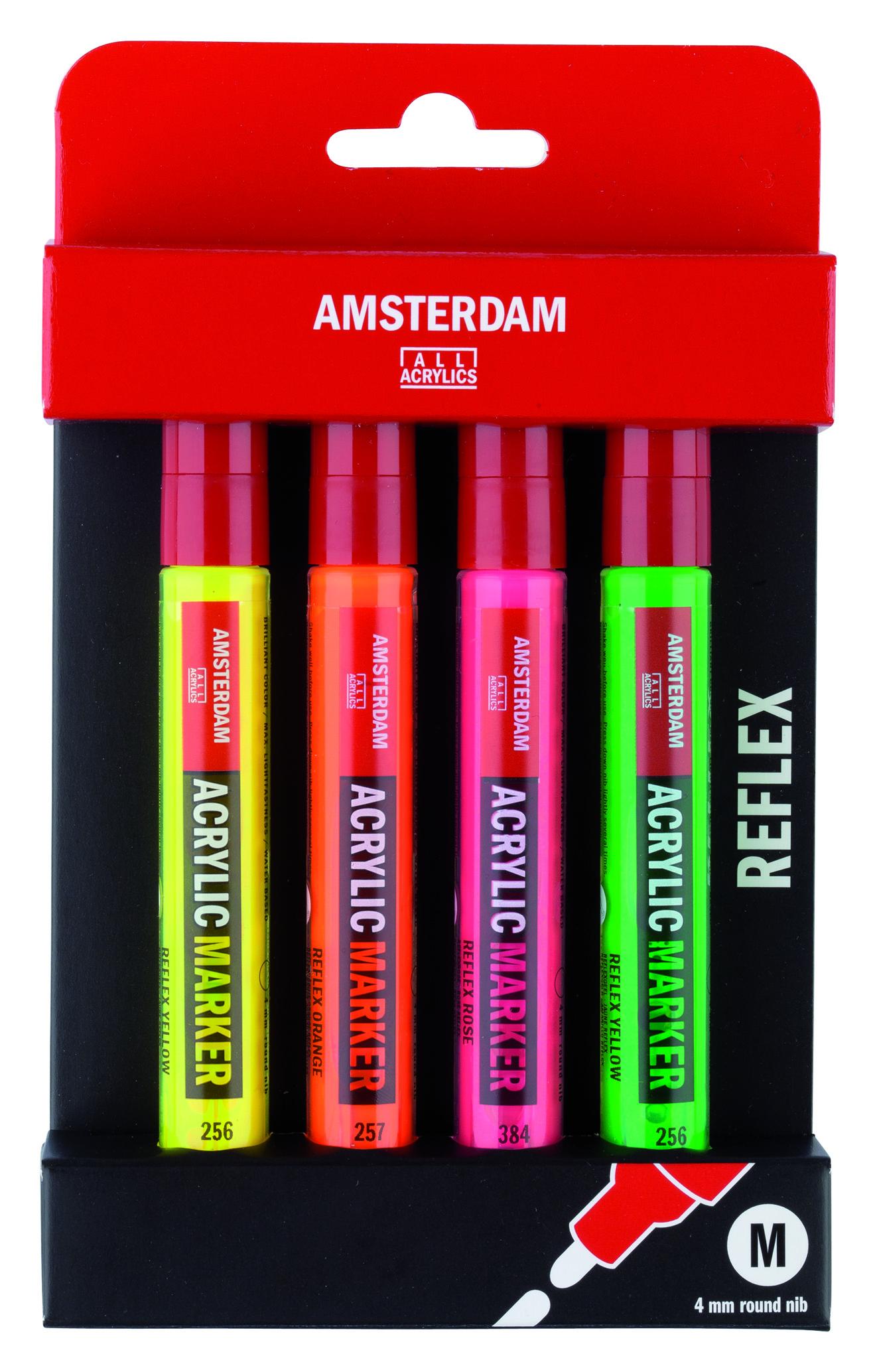 AMSTERDAM Acrylic Marker set M - Sada reflexních akrylových fixů 4mm 4ks