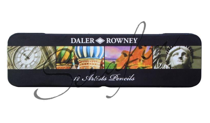 Grafitové tužky DALER-ROWNEY v plechové krabičce - 12 ks