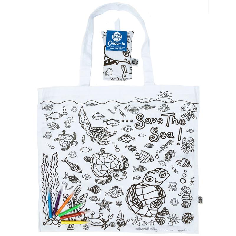 """Ekologická skládací taška ECOZZ - omalovánka """"Zachraňte moře!"""""""