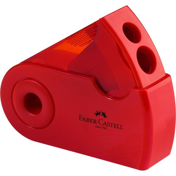 Ořezávátko dvojité kapesní Faber-Castell - červené