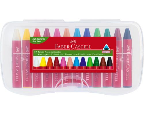 Voskovky Faber-Castell trojhranné 12 ks - plastové pouzdro