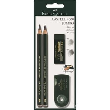 JUMBO set - grafit.tužky + guma + ořezávátko na blistru