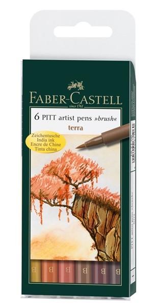 PITT umělecké štětce set 6 - Pen Brush - terra - barvy země
