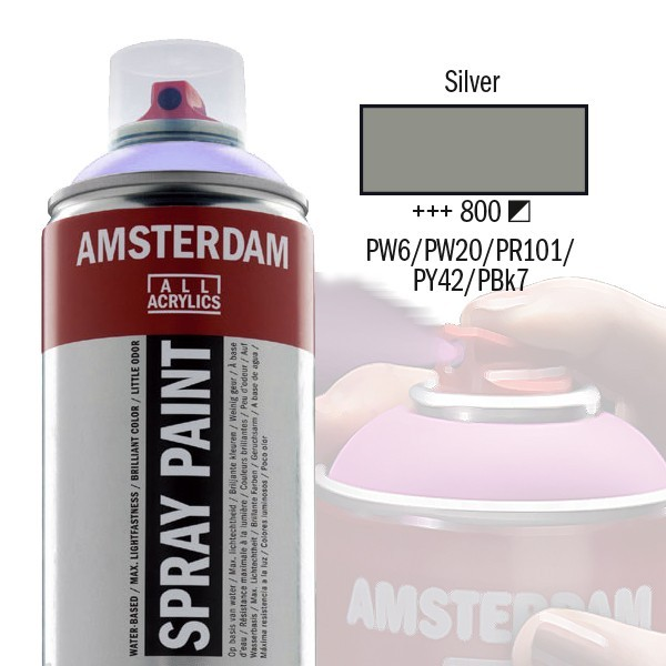AMSTERDAM Spray Paint - Akrylová barva ve spreji 400 ml - Silver 800