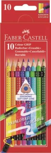 Pastelky GRIP s barevnou gumou - 10 ks