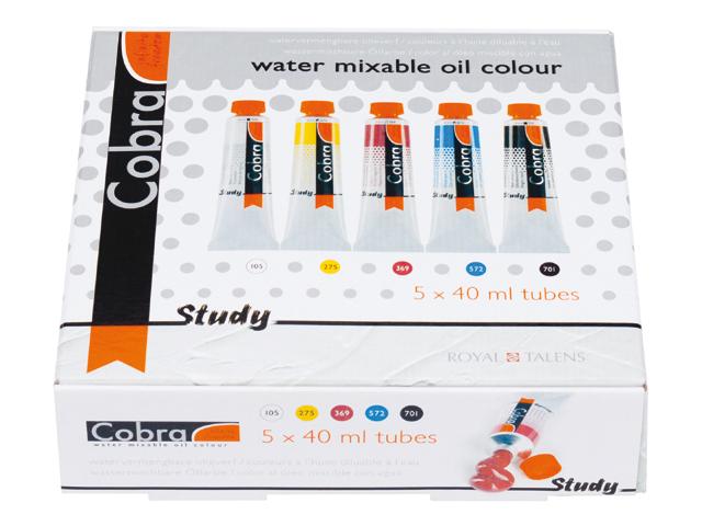 Startovací sada Cobra Study 5 x 40 ml - H2Oil - vodouředitelné olejové barvy