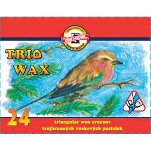 Akvarelové voskovky trojhranné 24 ks - papírová krabička