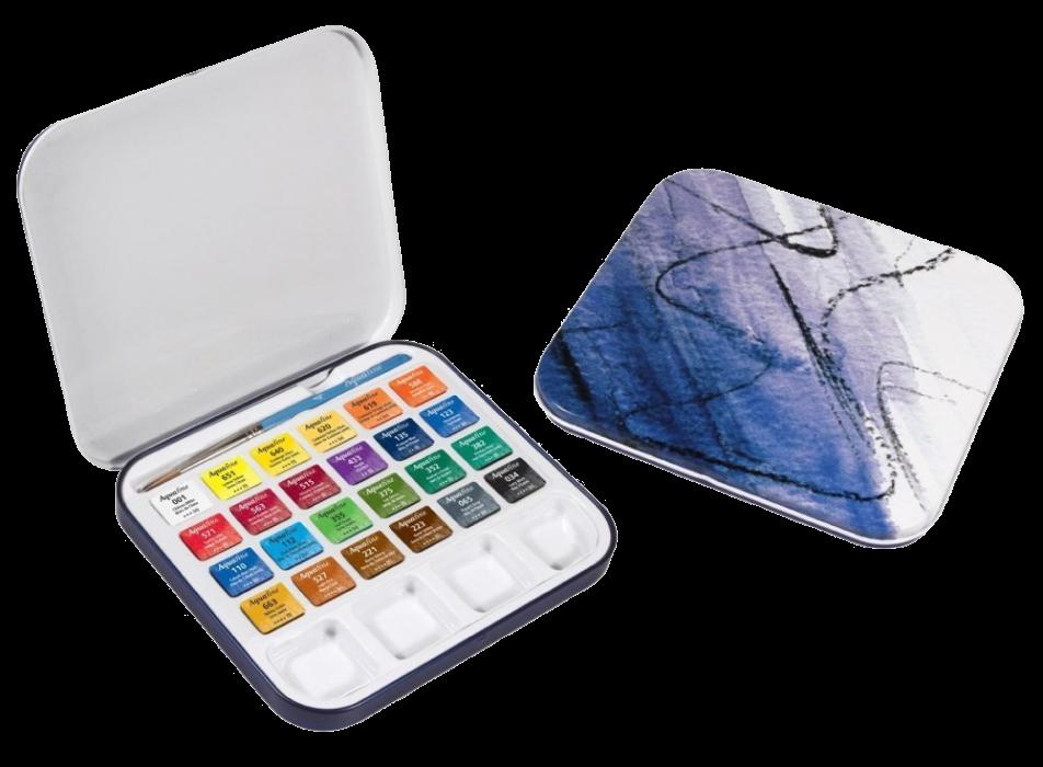 Akvarelové barvy Aquafine v kovovém pouzdře, sada 24 ks + štětec