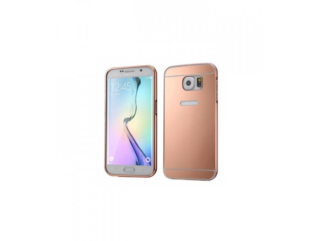 Puzdro s kovovým rámikom a akrylovým zadným krytom Samsung Galaxy S6 edge ružovo zlatá farba