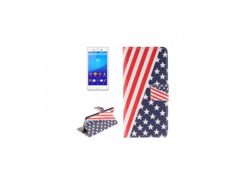 Púzdro Sony Xperia M4 Aqua knižkové americká vlajka