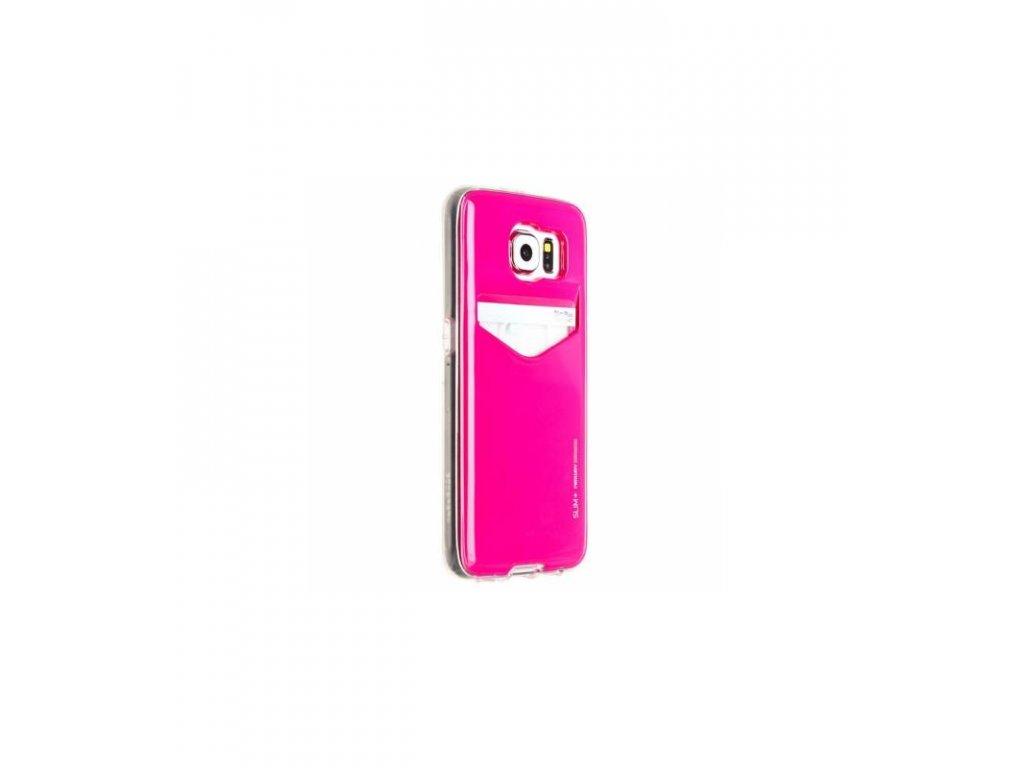 Púzdro Slim Card Pocked na Samsung galaxy S6 ružové