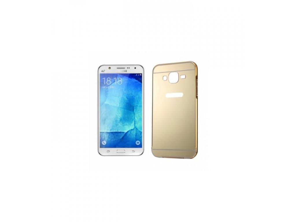 Puzdro s kovovým rámikom a akrylovým zadným krytom Samsung Galaxy J5 (2016) J510 zlatá farba