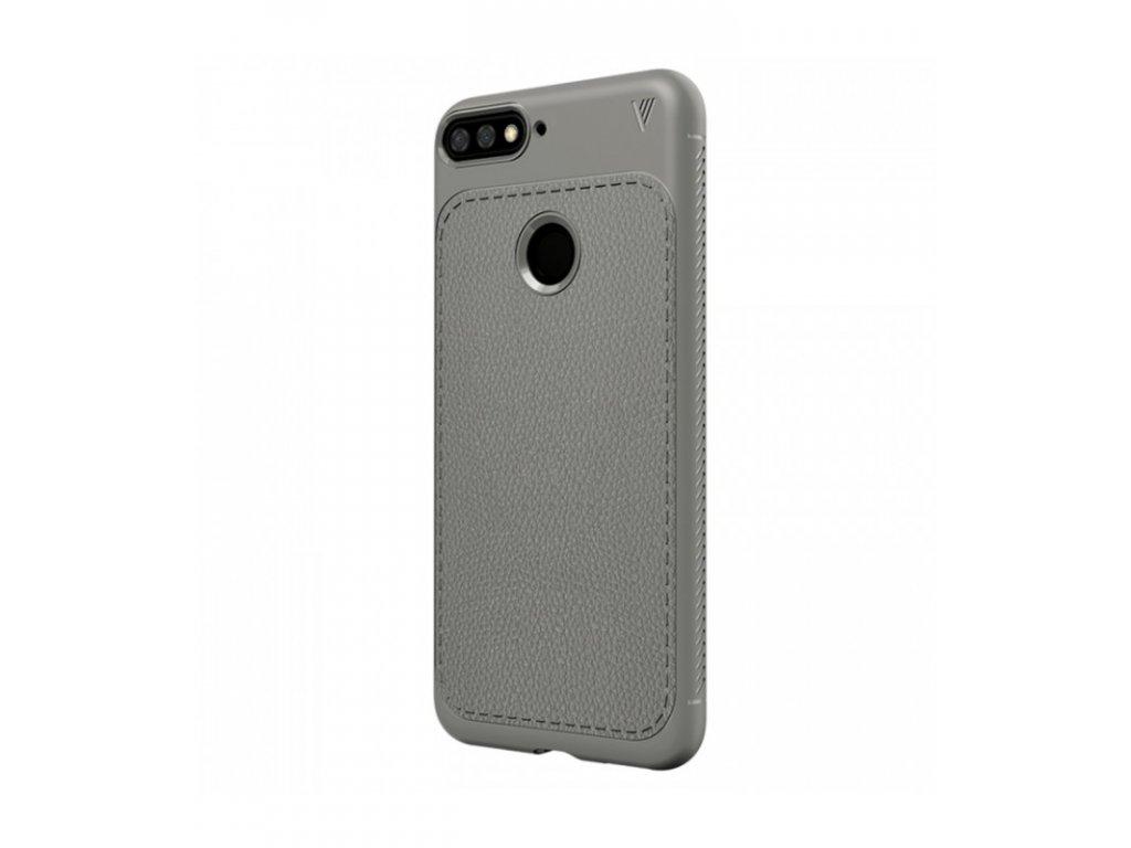 Puzdro Huawei Y6 2018 Litchi textúra šedá farba