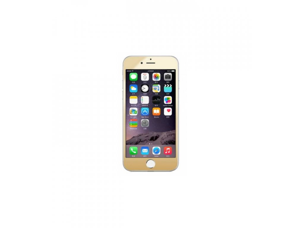 Luxusné ochranné tvrdené sklo iPhone 6 / iPhone 6S zlatá farba