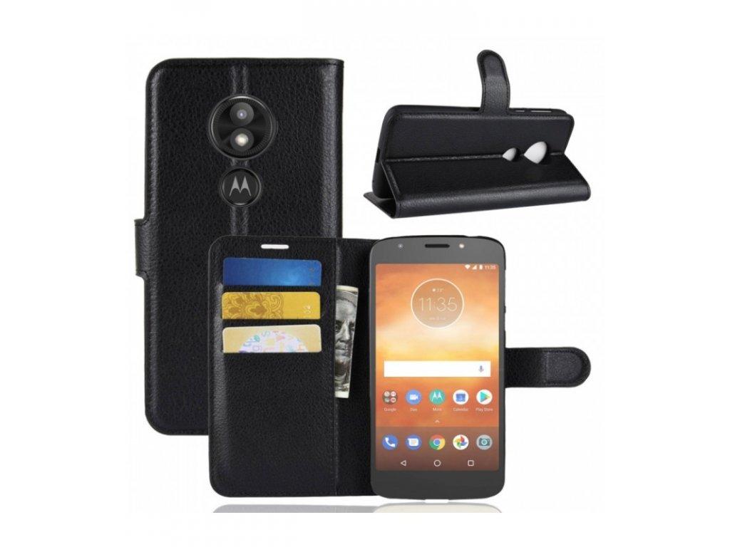 Knižkové púzdro Motorola Moto E5 Play Litchi čierne