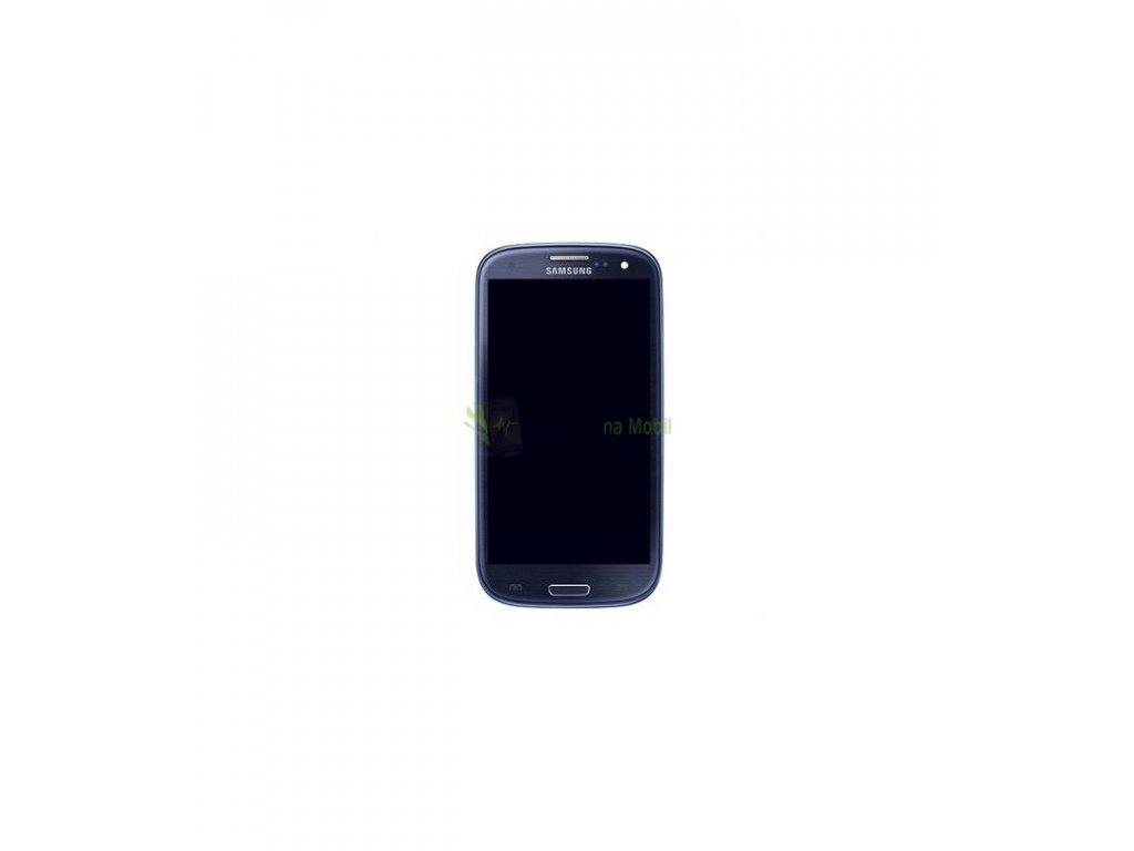 LCD Displej s dotykom, sklíčkom a rámom Samsung Galaxy i9301 S3 NEO modrá farba