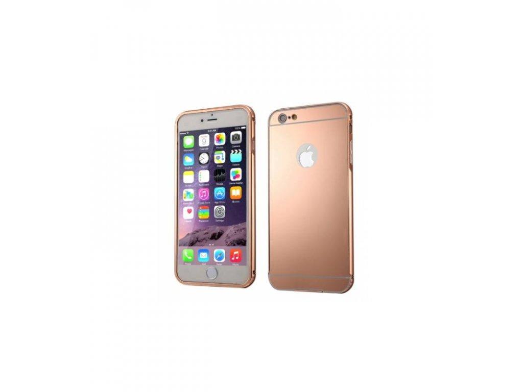 Puzdro s kovovým rámikom a akrylovým zadným krytom iPhone 6/6S ružový