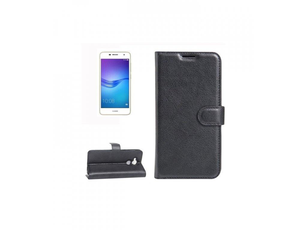 Puzdro Huawei Enjoy 6s / Honor 6c / Nova Smart litchi knižkové čierne