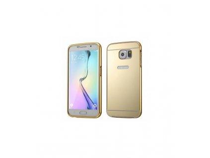 Púzdro s kovovým rámikom a akrylovým zadným krytom Samsung Galaxy S6 Edge - zlatá farba