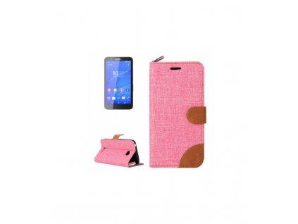 Knižkové púzdro Sony Xperia E4 - ružová farba