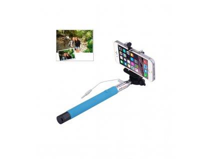 Selfie tyč s pripojením na 3,5 mm jack 101,4cm modrá farba