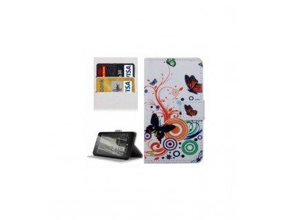 Puzdro Nokia Lumia 650 biele knižkové motív motýle