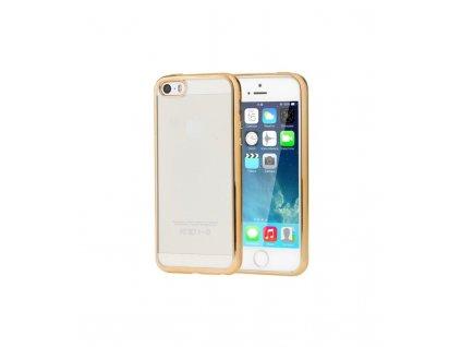 Puzdro iPhone 5S, 5, SE ultra tenké priesvitné so zlatým rámikom