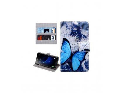Puzdro Samsung Galaxy J3 Pro / J311 knižkové modrý motýl