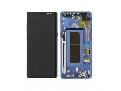 LCD displej a dotyková plocha s rámom Samsung Galaxy Note 8 N950 modrá farba